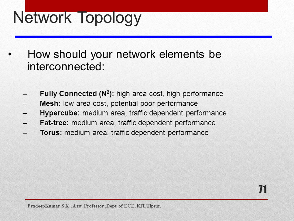 71 Network Topology How should your network elements be interconnected: –Fully Connected (N 2 ): high area cost, high performance –Mesh: low area cost, potential poor performance –Hypercube: medium area, traffic dependent performance –Fat-tree: medium area, traffic dependent performance –Torus: medium area, traffic dependent performance PradeepKumar S K, Asst.