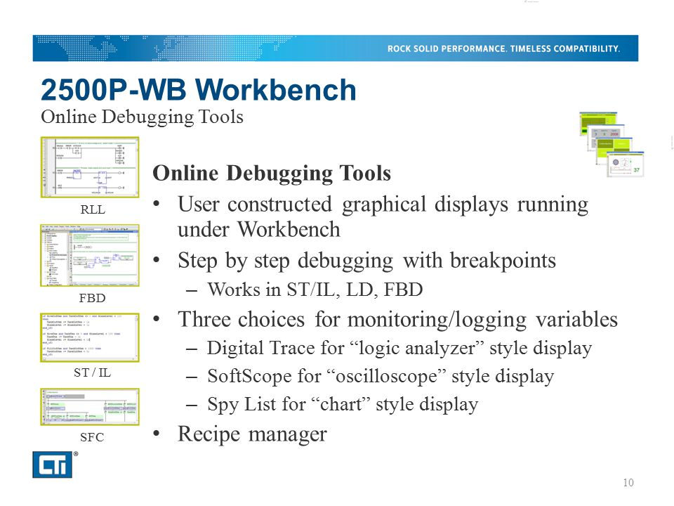 2500P-WB Workbench Online Debugging Tools User constructed graphical displays running under Workbench Step by step debugging with breakpoints – Works