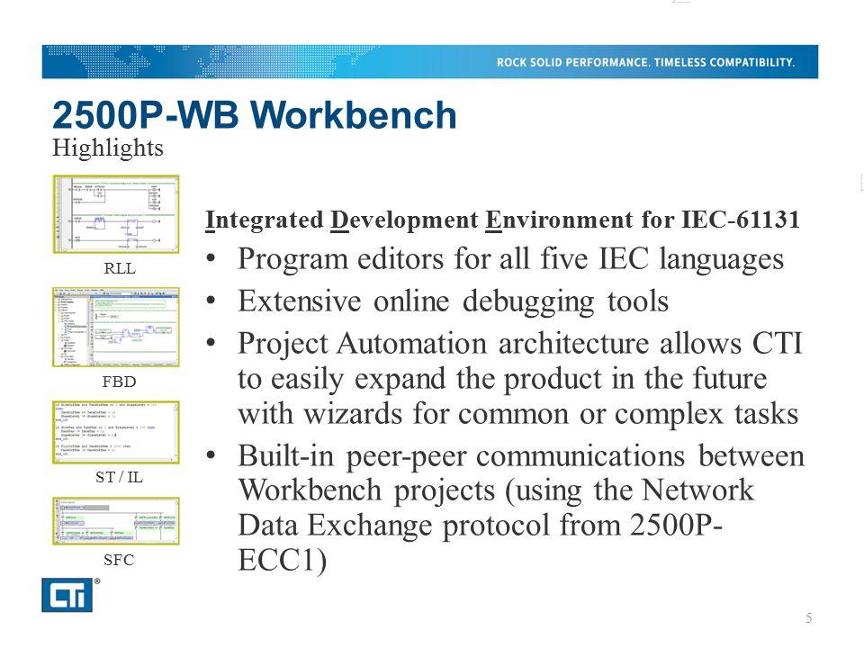 2500P-WB Workbench Integrated Development Environment for IEC-61131 Program editors for all five IEC languages Extensive online debugging tools Projec