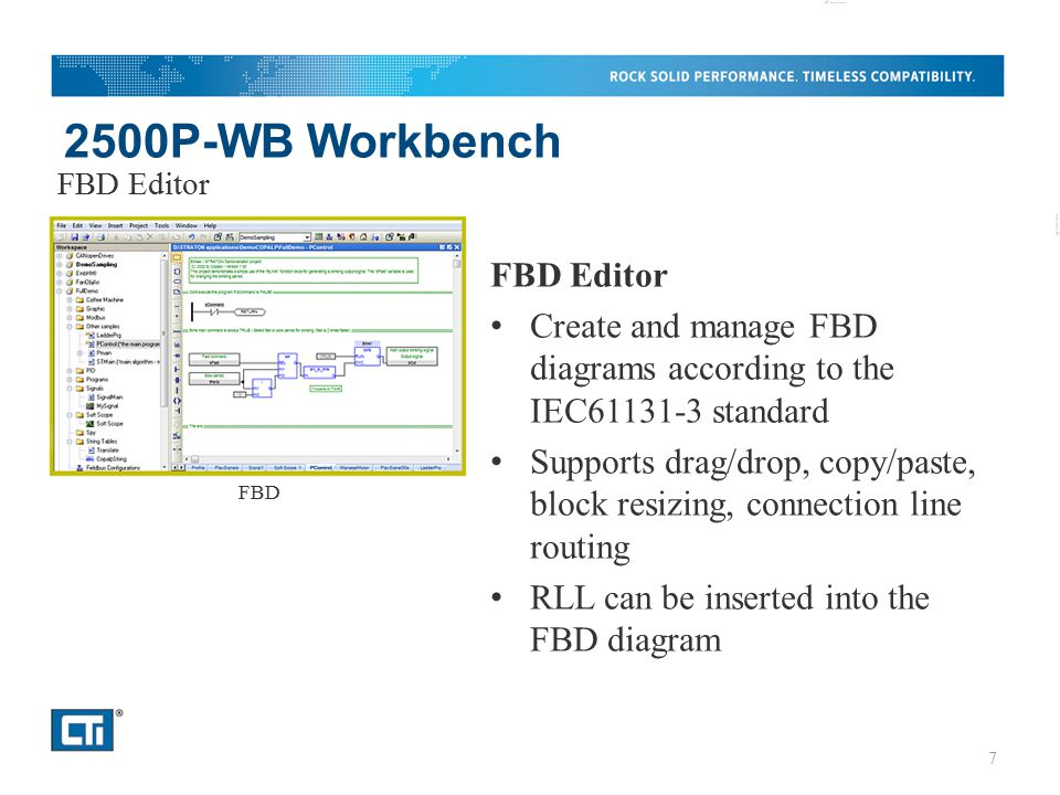 2500P-WB Workbench FBD Editor Create and manage FBD diagrams according to the IEC61131-3 standard Supports drag/drop, copy/paste, block resizing, conn