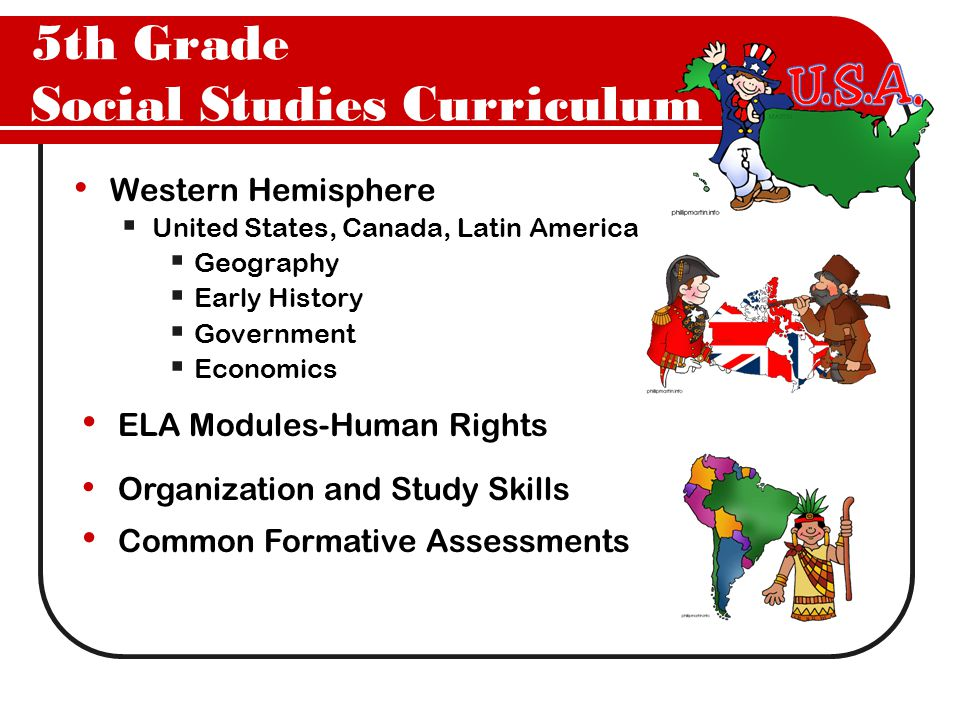 5th Grade Social Studies Curriculum Western Hemisphere  United States, Canada, Latin America  Geography  Early History  Government  Economics ELA Modules-Human Rights Common Formative Assessments Organization and Study Skills