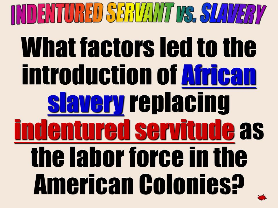 African slavery indentured servitude What factors led to the introduction of African slavery replacing indentured servitude as the labor force in the