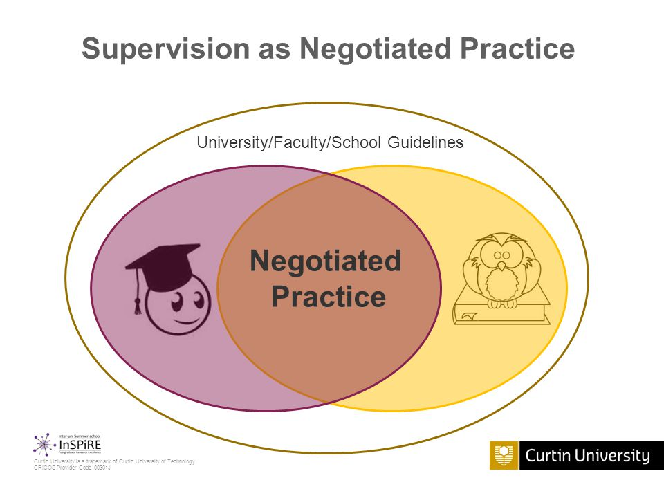 Curtin University is a trademark of Curtin University of Technology CRICOS Provider Code 00301J Supervision as Negotiated Practice University/Faculty/School Guidelines Negotiated Practice