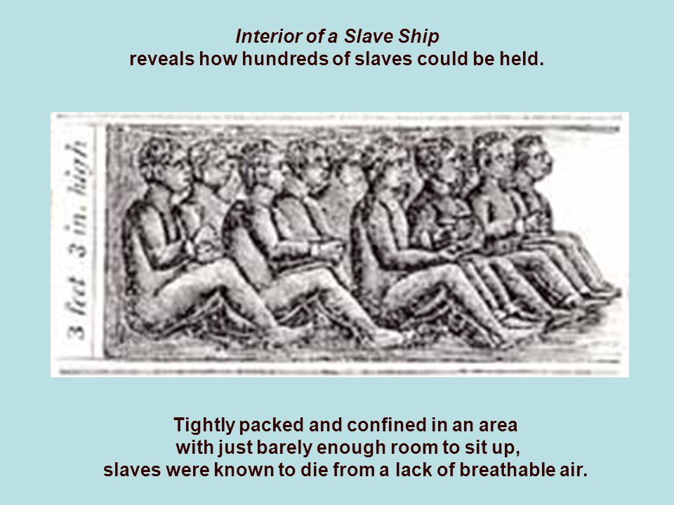 Interior of a Slave Ship reveals how hundreds of slaves could be held.