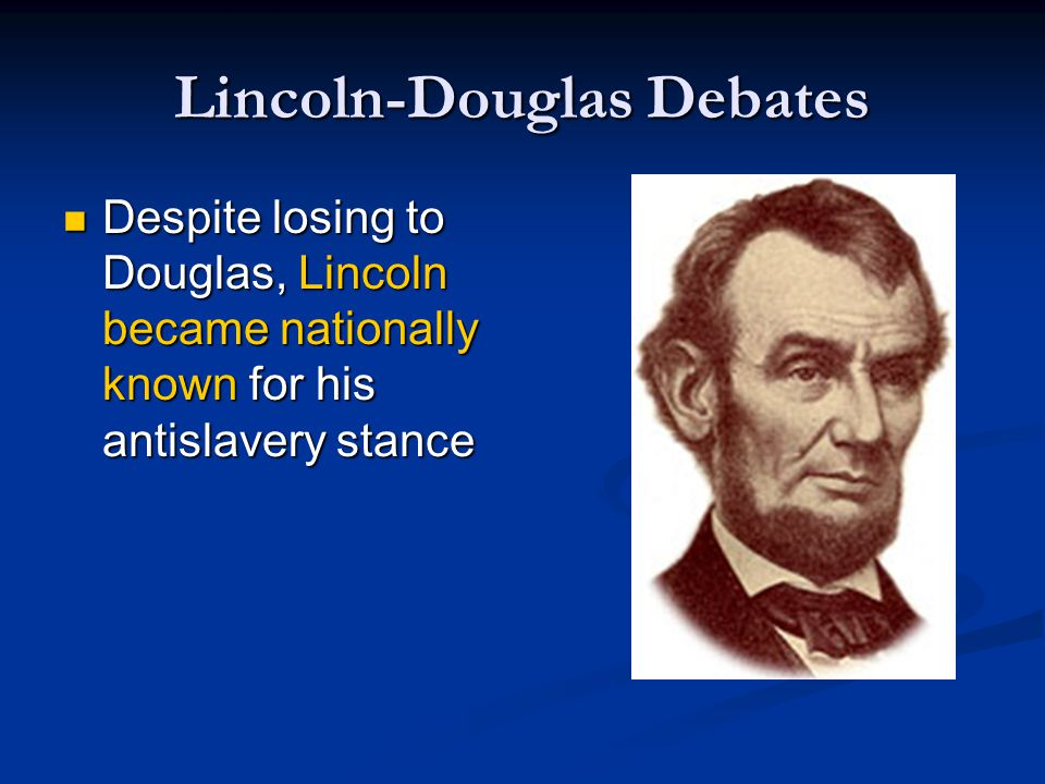Election of 1860 Regional attitudes toward slavery led to the election of Lincoln to the Presidency of the United States Regional attitudes toward slavery led to the election of Lincoln to the Presidency of the United States