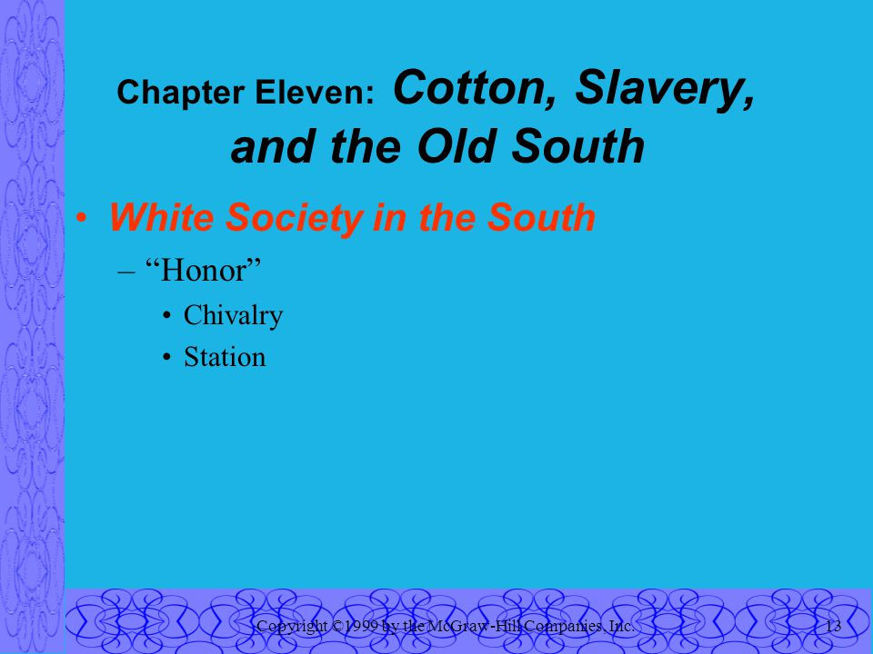 Copyright ©1999 by the McGraw-Hill Companies, Inc.13 Chapter Eleven: Cotton, Slavery, and the Old South White Society in the South – Honor Chivalry Station