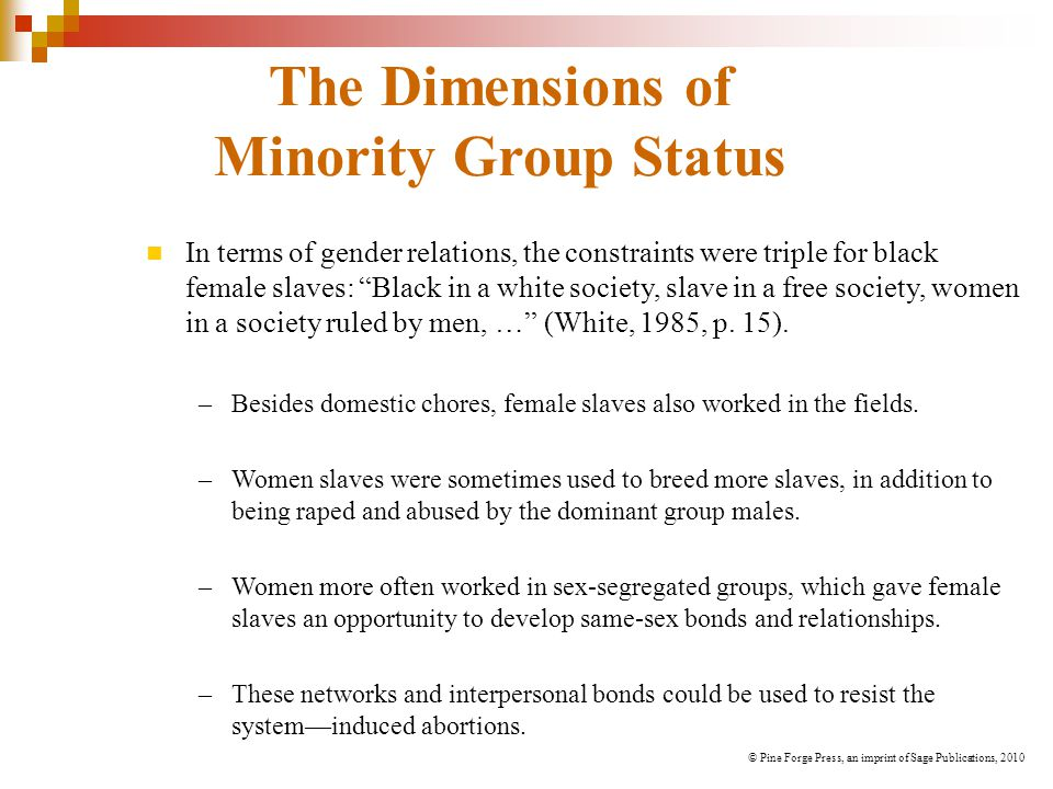 """The Dimensions of Minority Group Status In terms of gender relations, the constraints were triple for black female slaves: """"Black in a white society,"""