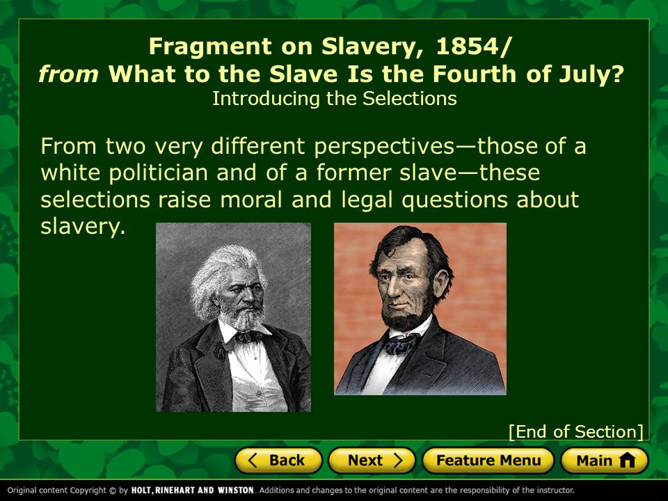 Fragment on Slavery, 1854/ from What to the Slave Is the Fourth of July.