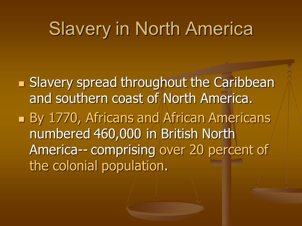 Slavery in North America Slavery spread throughout the Caribbean and southern coast of North America. Slavery spread throughout the Caribbean and sout