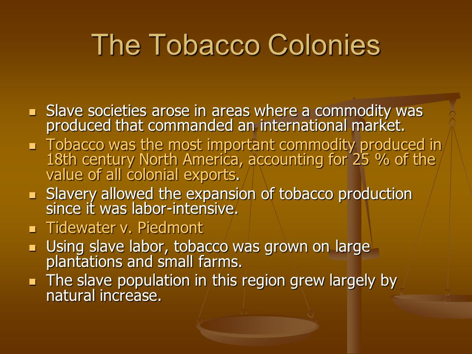 The Tobacco Colonies Slave societies arose in areas where a commodity was produced that commanded an international market. Slave societies arose in ar