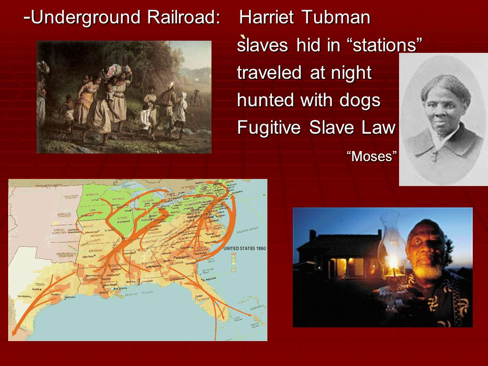 ` - Underground Railroad: Harriet Tubman slaves hid in stations slaves hid in stations traveled at night traveled at night hunted with dogs hunted with dogs Fugitive Slave Law Fugitive Slave Law Moses