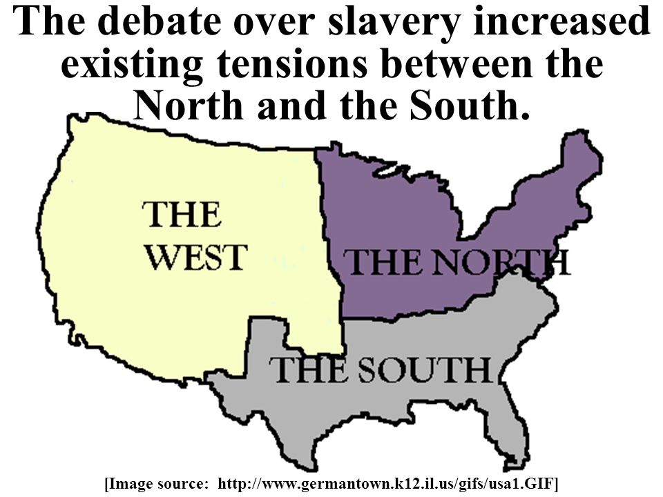 The debate over slavery increased existing tensions between the North and the South.