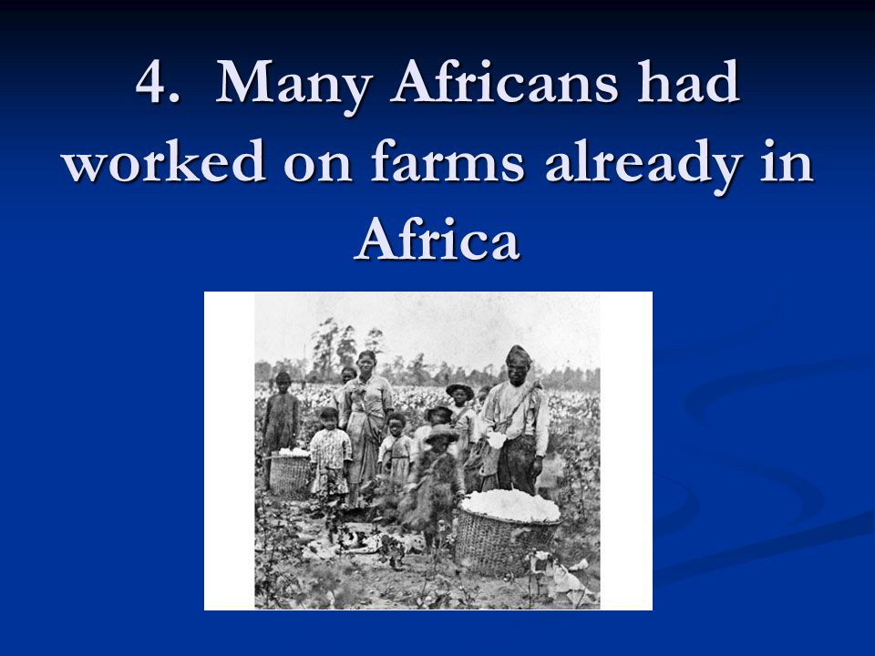 4. Many Africans had worked on farms already in Africa