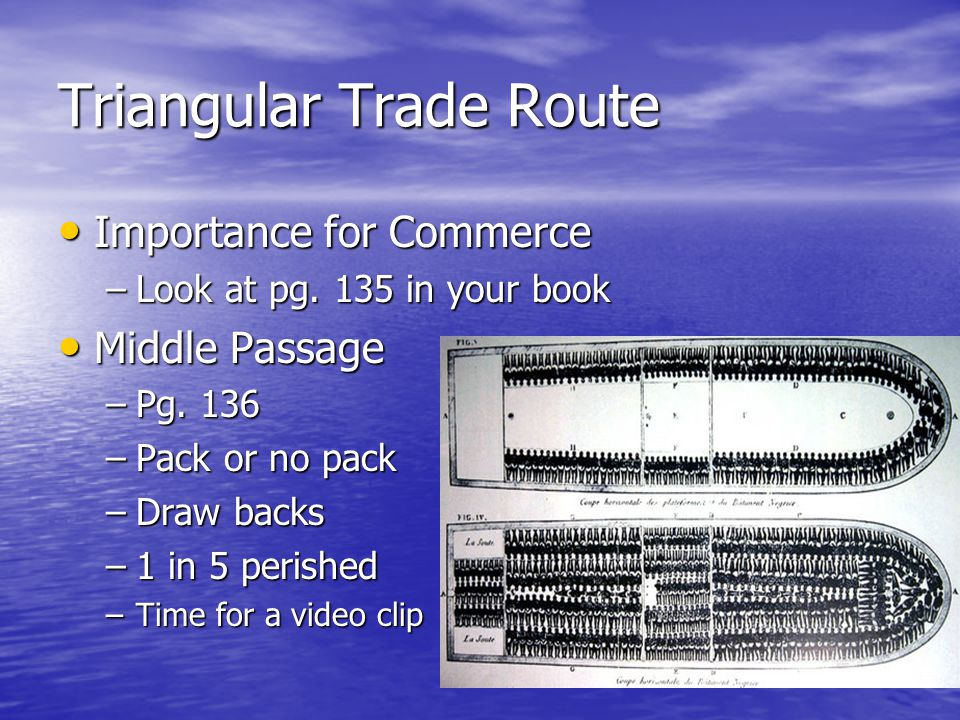 Triangular Trade Route Importance for Commerce Importance for Commerce –Look at pg.