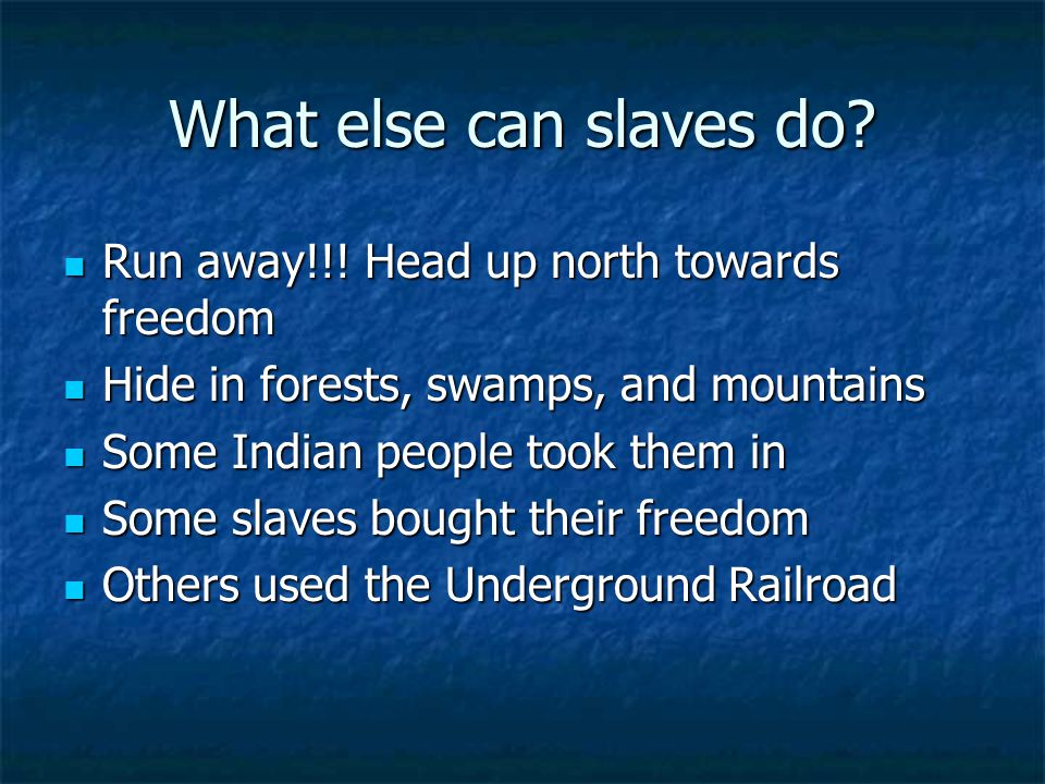 What else can slaves do. Run away!!. Head up north towards freedom Run away!!.