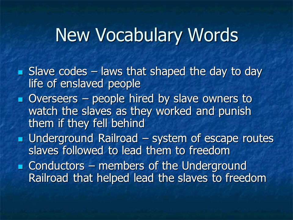 New Vocabulary Words Slave codes – laws that shaped the day to day life of enslaved people Slave codes – laws that shaped the day to day life of enslaved people Overseers – people hired by slave owners to watch the slaves as they worked and punish them if they fell behind Overseers – people hired by slave owners to watch the slaves as they worked and punish them if they fell behind Underground Railroad – system of escape routes slaves followed to lead them to freedom Underground Railroad – system of escape routes slaves followed to lead them to freedom Conductors – members of the Underground Railroad that helped lead the slaves to freedom Conductors – members of the Underground Railroad that helped lead the slaves to freedom