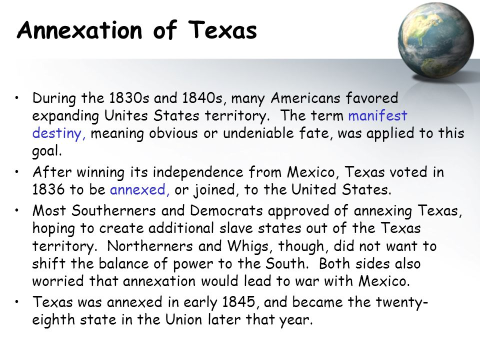 War With Mexico Beginnings of the Mexican War A dispute over the southern border of Texas, President Polk's dreams of acquiring Mexican lands, and a skirmish in April 1846 led to the Mexican War.