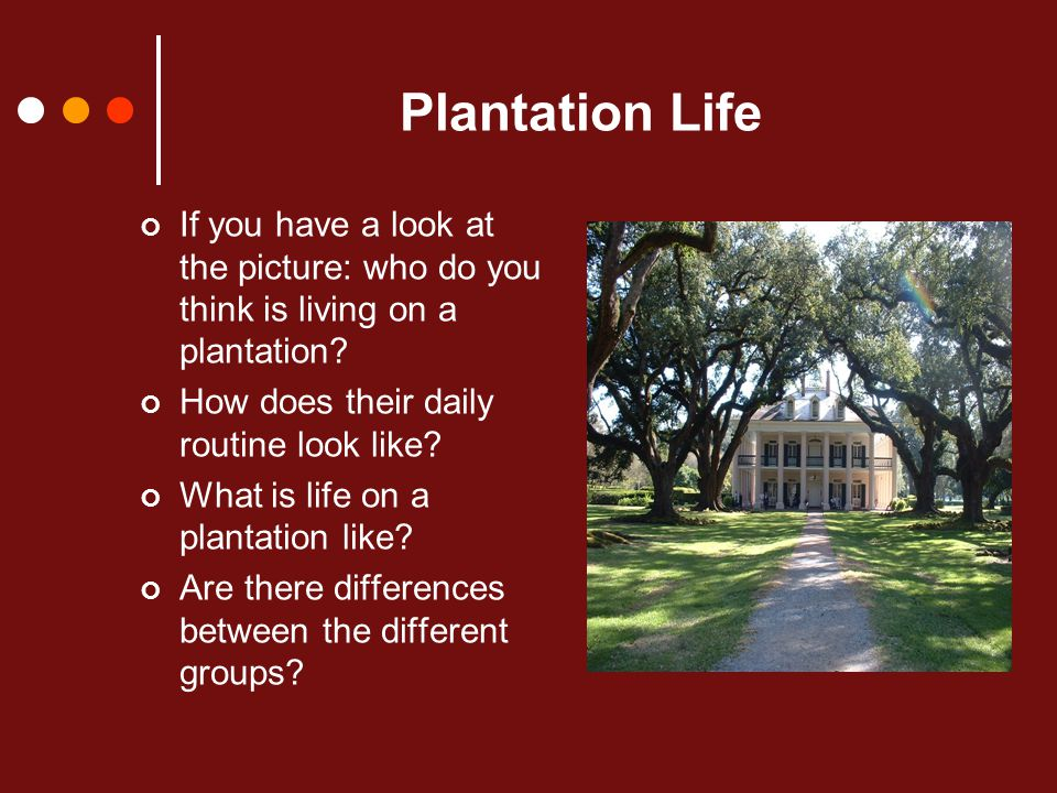 Plantation Life If you have a look at the picture: who do you think is living on a plantation.