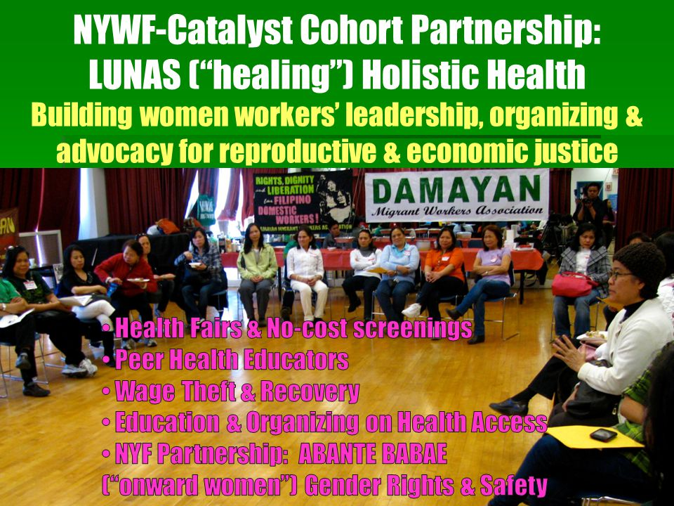 "NYWF-Catalyst Cohort Partnership: LUNAS (""healing"") Holistic Health Building women workers' leadership, organizing & advocacy for reproductive & econo"