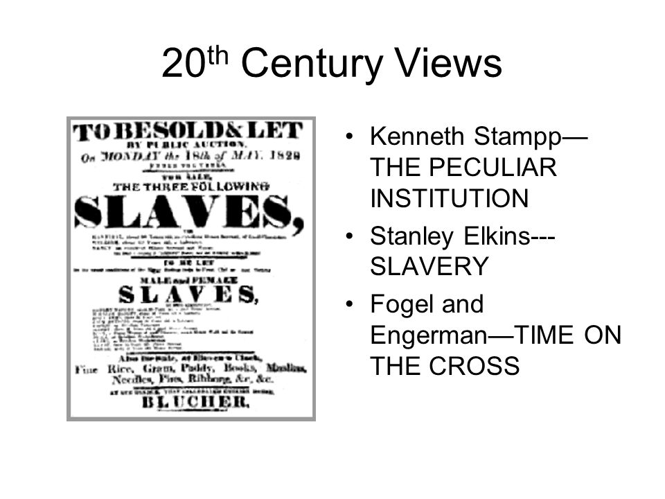 20 th Century Views Kenneth Stampp— THE PECULIAR INSTITUTION Stanley Elkins--- SLAVERY Fogel and Engerman—TIME ON THE CROSS
