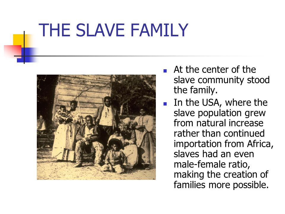 THE SLAVE FAMILY At the center of the slave community stood the family. In the USA, where the slave population grew from natural increase rather than