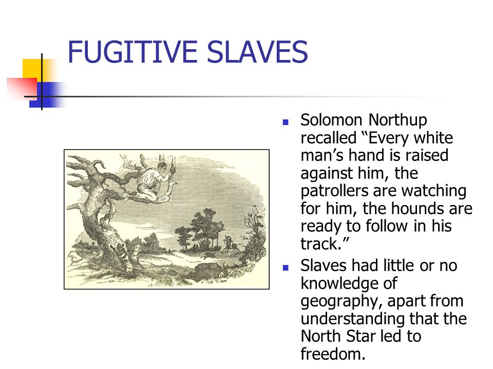 """FUGITIVE SLAVES Solomon Northup recalled """"Every white man's hand is raised against him, the patrollers are watching for him, the hounds are ready to f"""