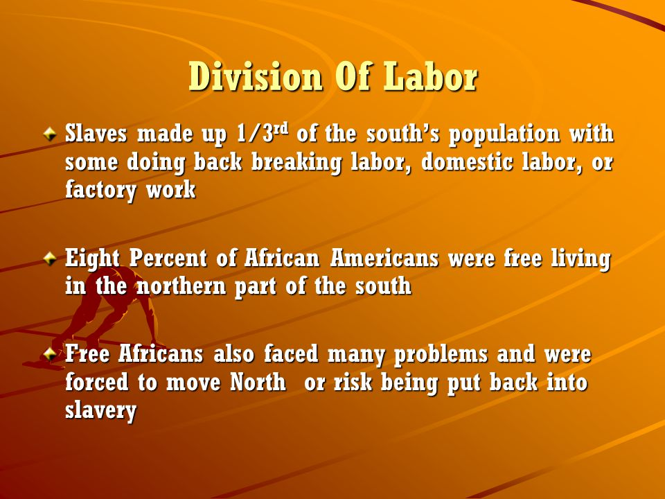 Division Of Labor Slaves made up 1/3 rd of the south's population with some doing back breaking labor, domestic labor, or factory work Eight Percent of African Americans were free living in the northern part of the south Free Africans also faced many problems and were forced to move North or risk being put back into slavery
