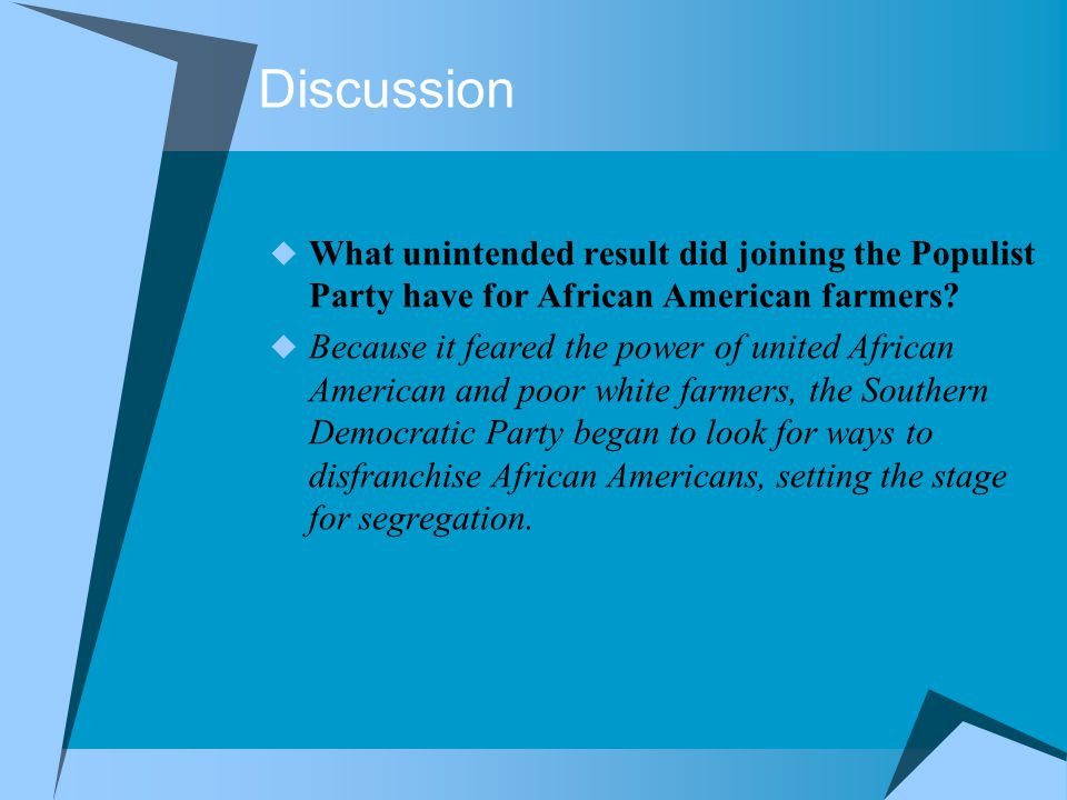 Discussion  What unintended result did joining the Populist Party have for African American farmers?  Because it feared the power of united African