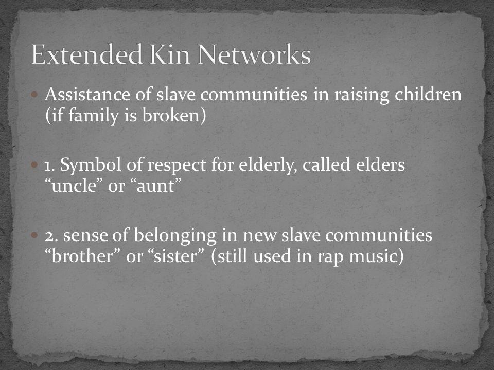Assistance of slave communities in raising children (if family is broken) 1.
