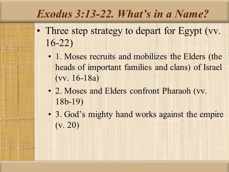 Exodus 3:13-22. What's in a Name. Three step strategy to depart for Egypt (vv.