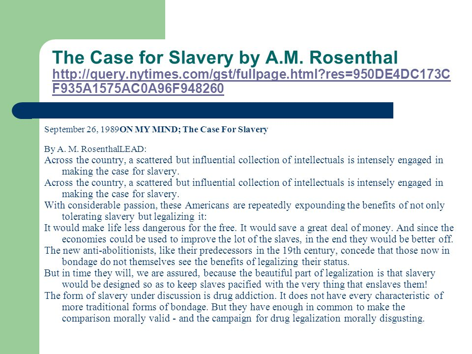 The Case for Slavery by A.M.