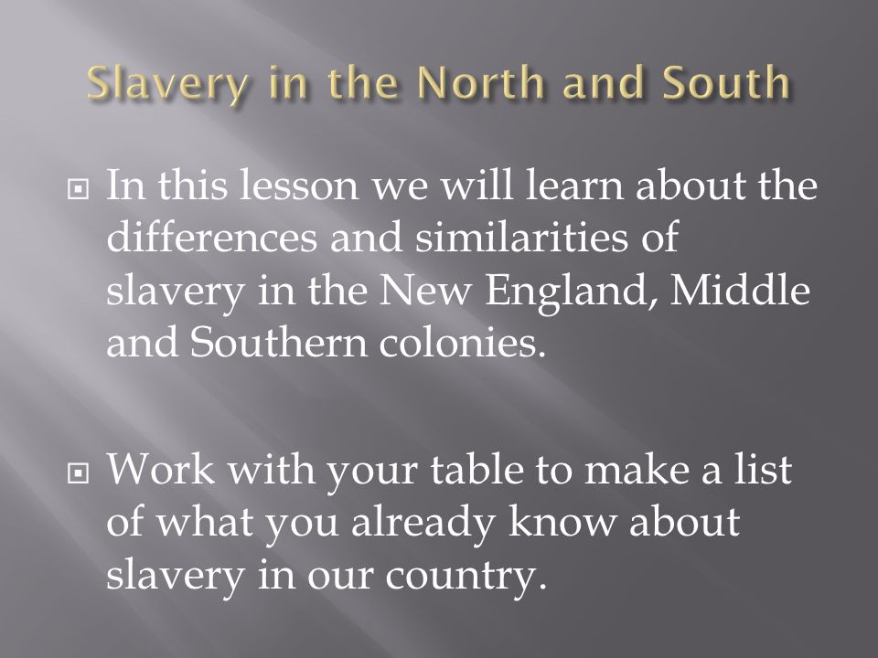  In this lesson we will learn about the differences and similarities of slavery in the New England, Middle and Southern colonies.