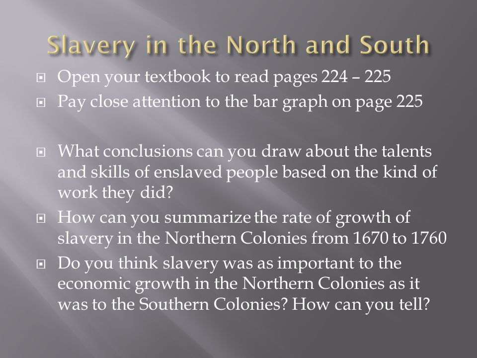  Open your textbook to read pages 224 – 225  Pay close attention to the bar graph on page 225  What conclusions can you draw about the talents and skills of enslaved people based on the kind of work they did.