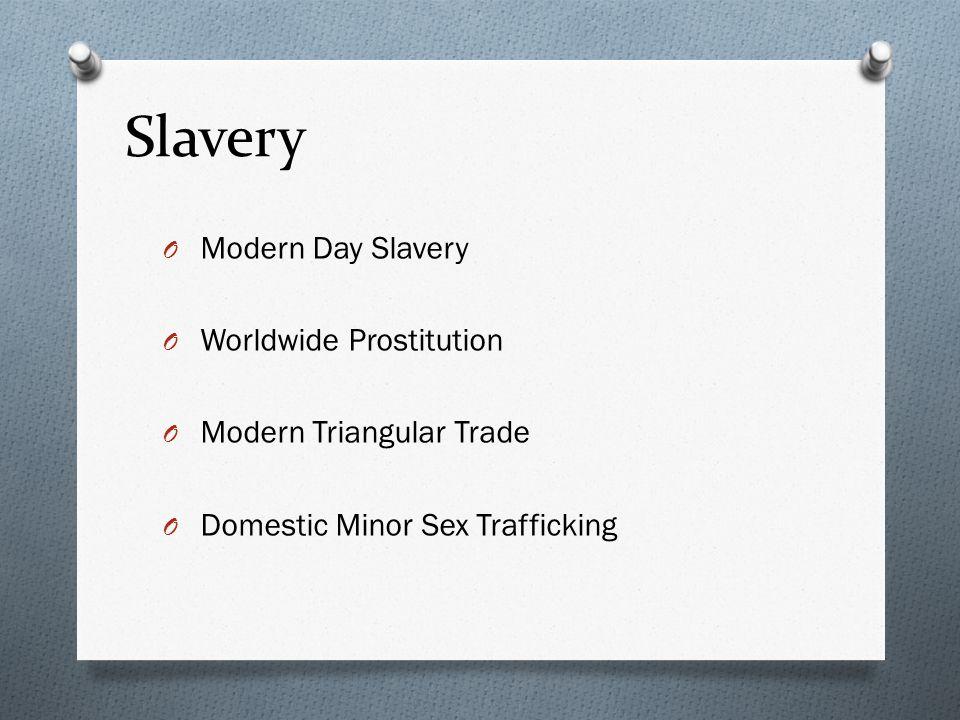 Slavery O Modern Day Slavery O Worldwide Prostitution O Modern Triangular Trade O Domestic Minor Sex Trafficking O Mapping Slavery
