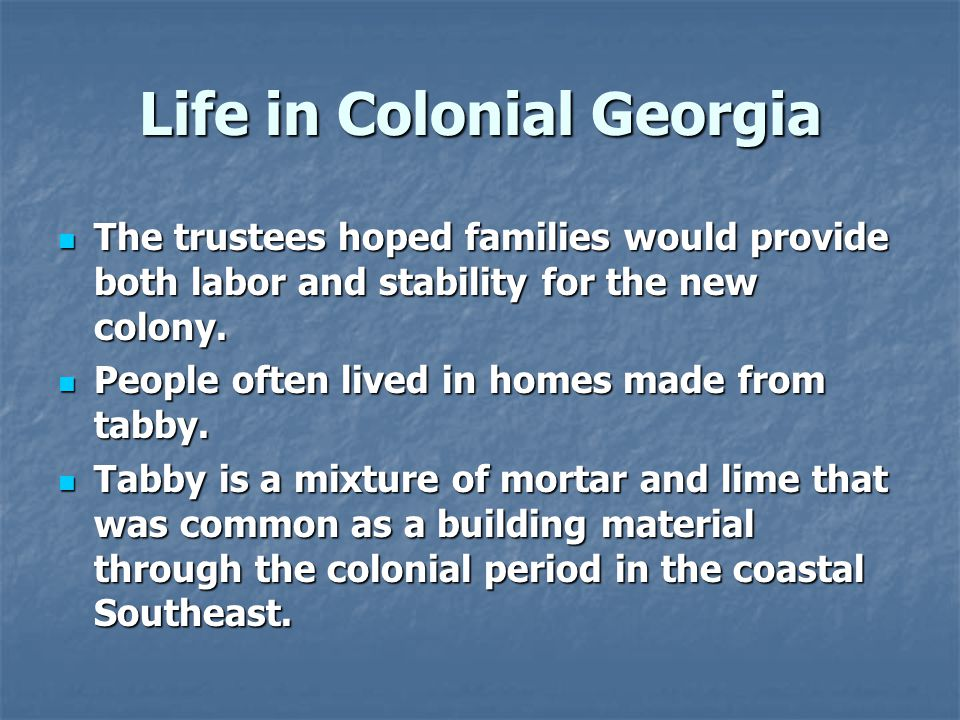 Life in Colonial Georgia The trustees hoped families would provide both labor and stability for the new colony.