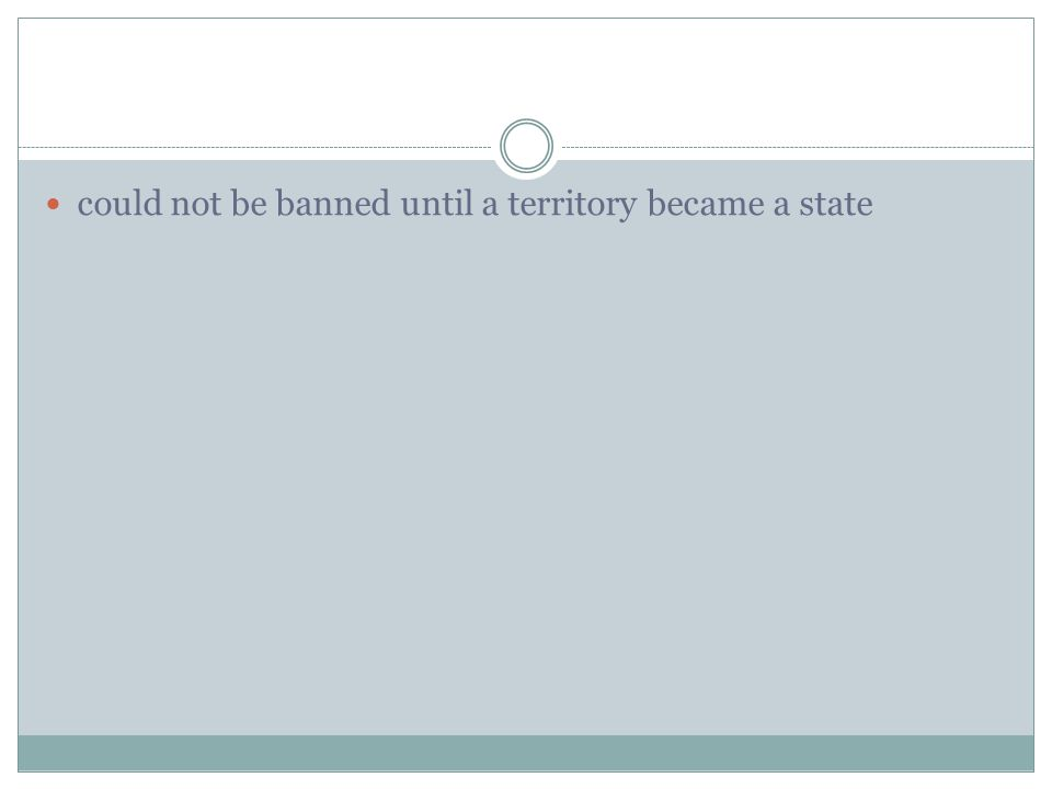 could not be banned until a territory became a state