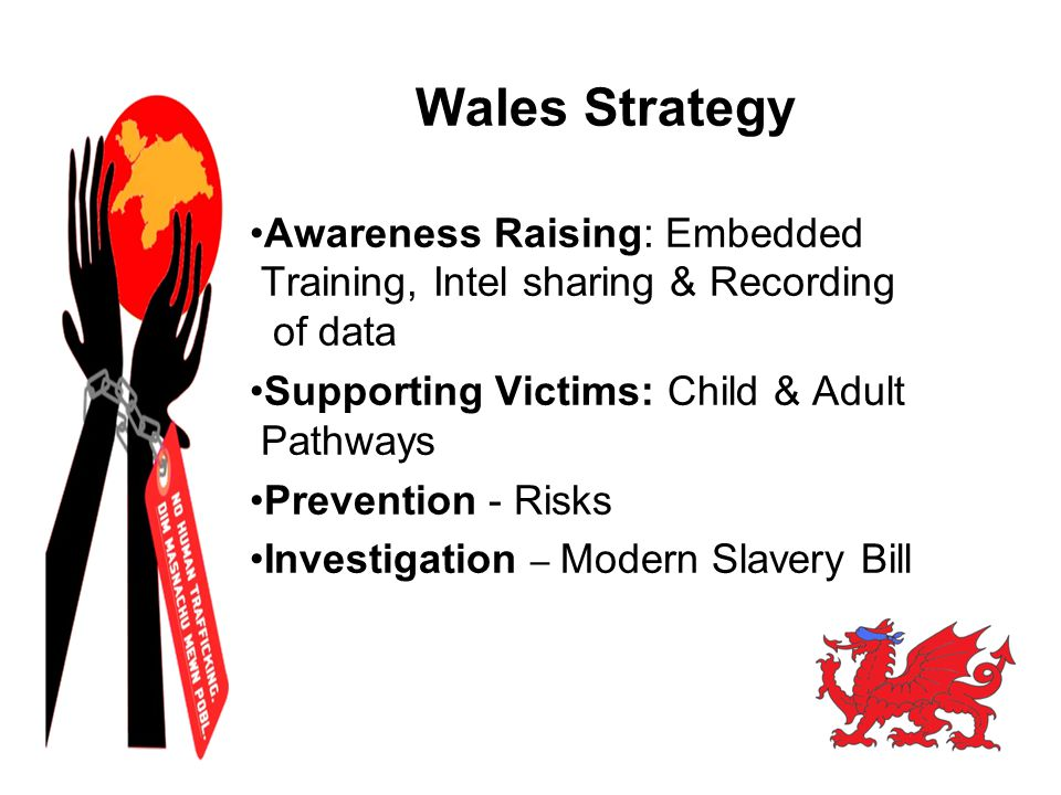 Wales Strategy Awareness Raising: Embedded Training, Intel sharing & Recording of data Supporting Victims: Child & Adult Pathways Prevention - Risks I