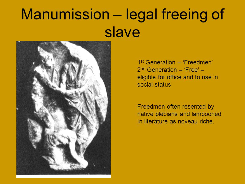 Manumission – legal freeing of slave 1 st Generation – 'Freedmen' 2 nd Generation – 'Free' – eligible for office and to rise in social status Freedmen often resented by native plebians and lampooned In literature as noveau riche.