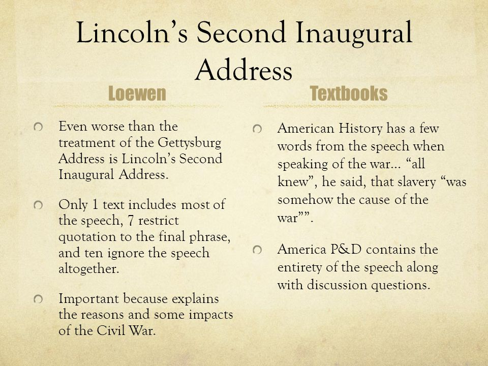 Lincoln's Second Inaugural Address Loewen Even worse than the treatment of the Gettysburg Address is Lincoln's Second Inaugural Address. Only 1 text i