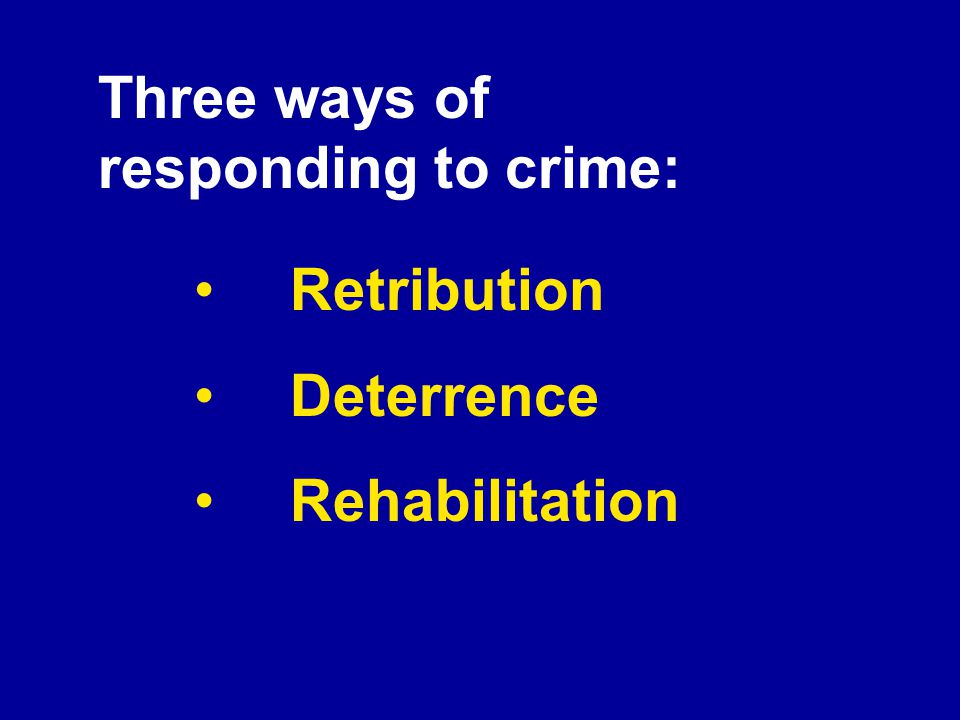 Three ways of responding to crime: Retribution Deterrence Rehabilitation