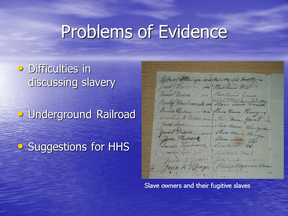 Problems of Evidence Difficulties in discussing slavery Difficulties in discussing slavery Underground Railroad Underground Railroad Suggestions for HHS Suggestions for HHS Slave owners and their fugitive slaves