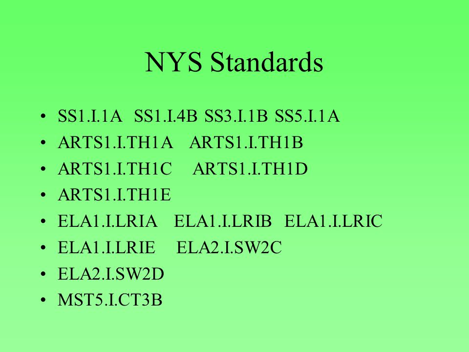 NYS Standards SS1.I.1A SS1.I.4B SS3.I.1B SS5.I.1A ARTS1.I.TH1A ARTS1.I.TH1B ARTS1.I.TH1C ARTS1.I.TH1D ARTS1.I.TH1E ELA1.I.LRIA ELA1.I.LRIB ELA1.I.LRIC ELA1.I.LRIE ELA2.I.SW2C ELA2.I.SW2D MST5.I.CT3B