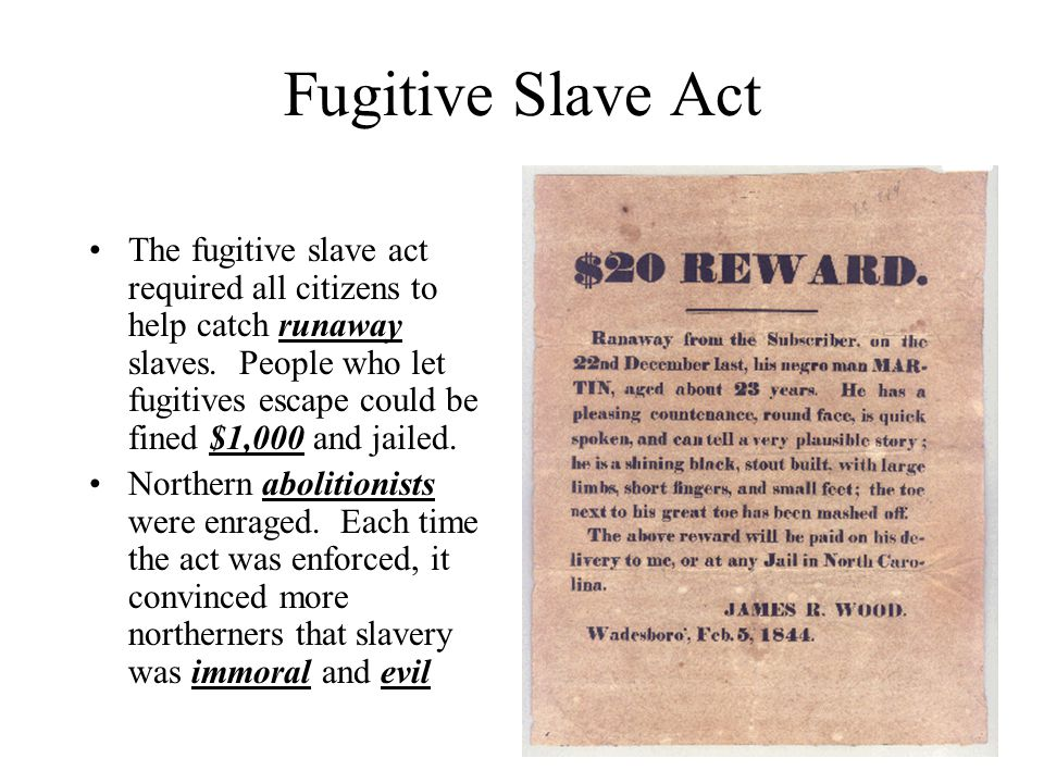 Fugitive Slave Act The fugitive slave act required all citizens to help catch runaway slaves. People who let fugitives escape could be fined $1,000 an