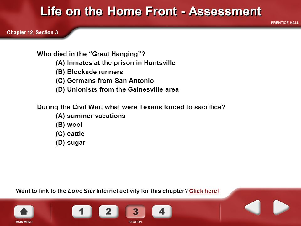 Want to link to the Lone Star Internet activity for this chapter? Click here!Click here! Chapter 12, Section 3 Life on the Home Front - Assessment Who