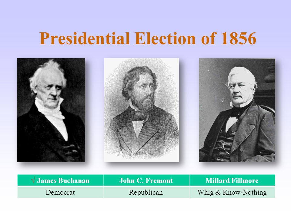 Presidential Election of 1856 √ James Buchanan John C.