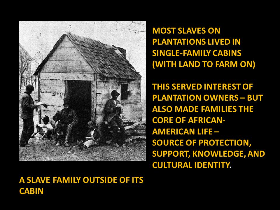 MOST SLAVES ON PLANTATIONS LIVED IN SINGLE-FAMILY CABINS (WITH LAND TO FARM ON) THIS SERVED INTEREST OF PLANTATION OWNERS – BUT ALSO MADE FAMILIES THE CORE OF AFRICAN- AMERICAN LIFE – SOURCE OF SOURCE OF PROTECTION, SUPPORT, KNOWLEDGE, AND CULTURAL IDENTITY.