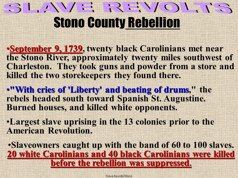September 9, 1739September 9, 1739, twenty black Carolinians met near the Stono River, approximately twenty miles southwest of Charleston.