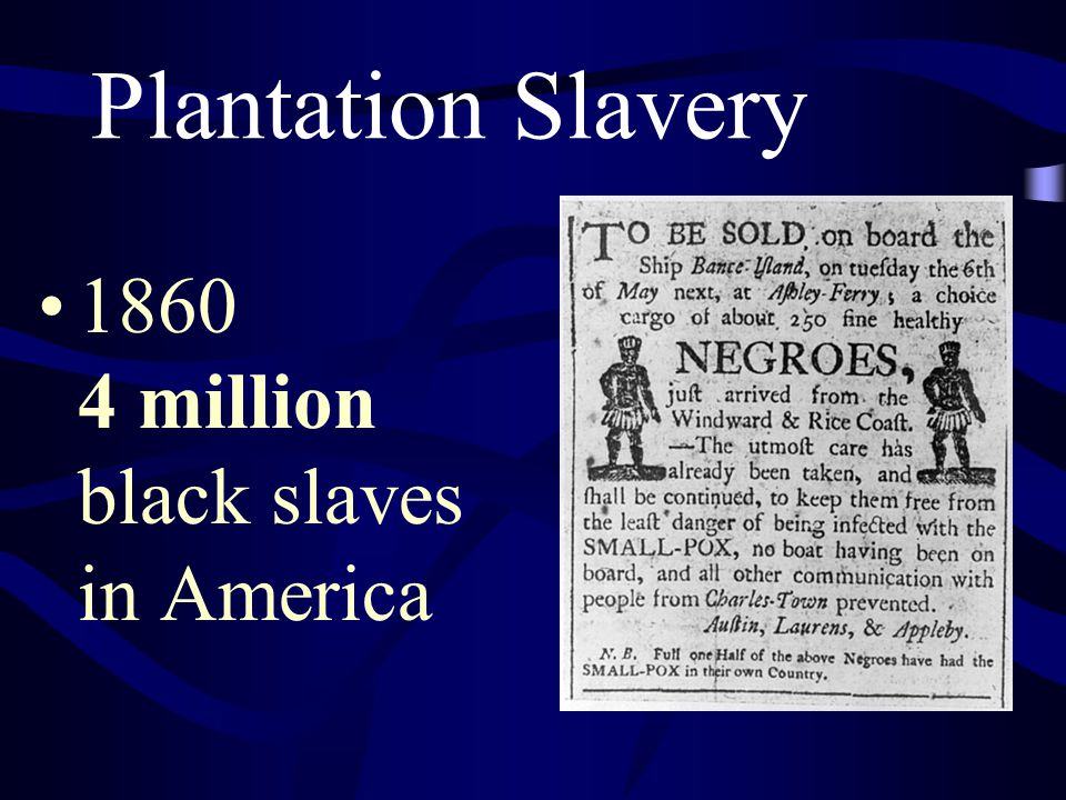 Plantation Slavery 1860 4 million black slaves in America