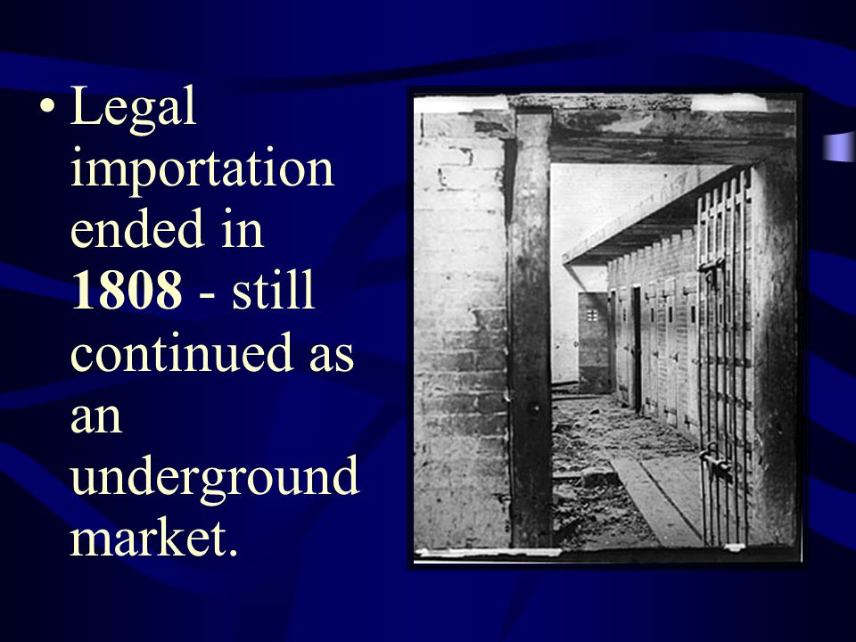 Legal importation ended in 1808 - still continued as an underground market.