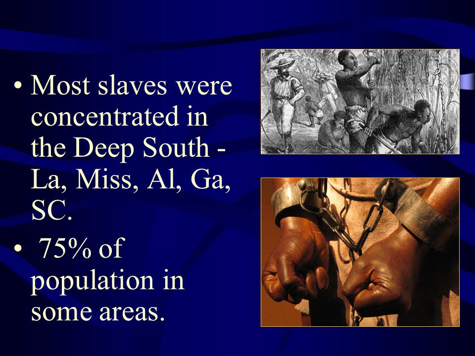 Most slaves were concentrated in the Deep South - La, Miss, Al, Ga, SC. 75% of population in some areas.